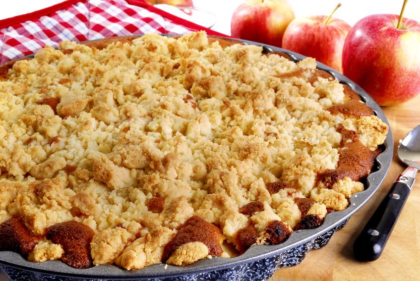 Apfelkuchen mit Vanille-Pudding-Füllung (vegan)