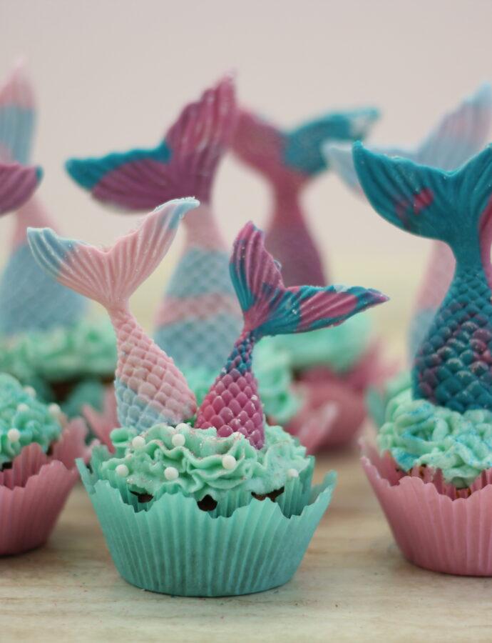 vegane Meerjungfrau Cupcakes mit Buttercreme